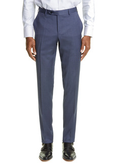 Canali Milano Flat Front Mini Houndstooth Stretch Wool Trousers