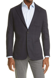 Canali Plaid Jersey Sport Coat