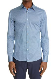 Canali Regular Fit Mélange Button-Up Shirt