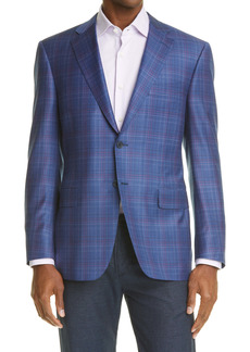 Canali Siena Soft Classic Fit Plaid Wool Sport Coat
