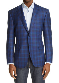 Canali Sienna Soft Plaid Wool Sport Coat