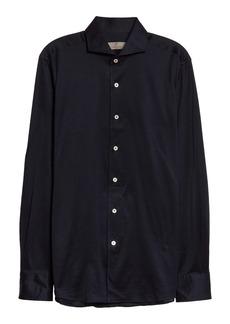 Canali Trim Fit Jersey Button-Up Shirt