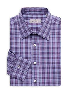 Canali Checkered Modern-Fit Dress Shirt
