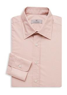 Canali Dotted Diamond-Print Modern-Fit Dress Shirt