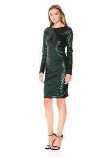 Carmen Marc Valvo Infusion Women's L/s Allover Sequin Sheath Cocktail Dress