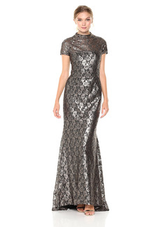 Carmen Marc Valvo Infusion Women's Mock Neck Lace Gown with Flaired Back Hem and S/s