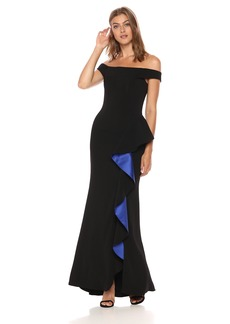 Carmen Marc Valvo Infusion Women's Off The Shoulder Gown blaac/Cobalt