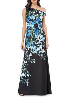 Carmen Marc Valvo One-Shoulder Floral Gown