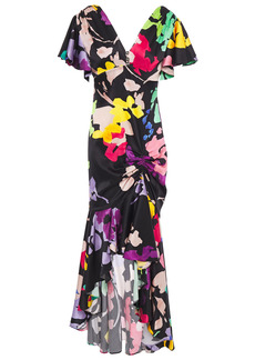 Caroline Constas Woman Asymmetric Ruched Printed Stretch-silk Satin Dress Black