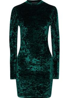 Caroline Constas Woman Lulu Crushed-velvet Mini Dress Emerald