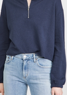 Chaser Cashmere Fleece Blouson Sleeve Half Zip Pullover