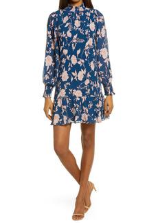Chelsea28 Floral Pleat Long Sleeve Minidress