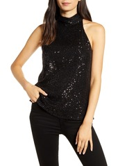 Chelsea28 High Neck Sequin Halter Top