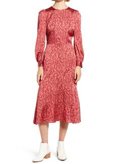 Chelsea28 Print Long Sleeve Midi Dress
