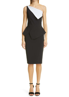 Chiara Boni La Petite Robe Contrast One-Shoulder Peplum Dress