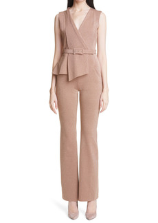 Chiara Boni La Petite Robe Kerolyn Metallic Slim Fit Belted Jumpsuit