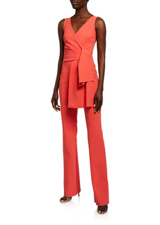 Chiara Boni La Petite Robe Jay Sleeveless Tie-Front Jersey Jumpsuit