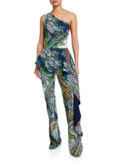Chiara Boni La Petite Robe One-Shoulder Paisley-Printed Peplum Jumpsuit