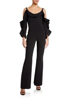 Chiara Boni La Petite Robe Ruffle-Neck Cold-Shoulder Flare-Leg Jumpsuit