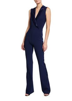 Chiara Boni La Petite Robe Sleeveless Tuxedo Jumpsuit w/ Satin Collar