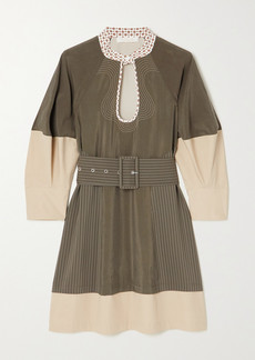 Chloé Belted Two-tone Silk-blend And Cotton-poplin Mini Dress