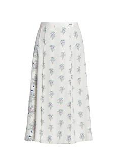 Chloé Bouquet Print Crepe Skirt