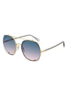 Chloé 56mm Gradient Aviator Sunglasses