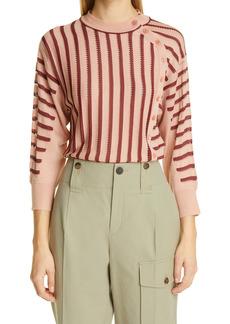 Chloé Asymmetrical Button Front Pointelle Stripe Sweater