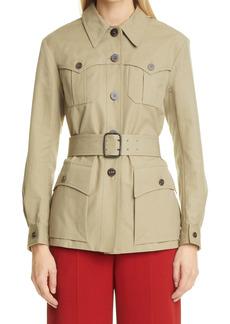 Chloé Belted Stretch Cotton Utility Jacket