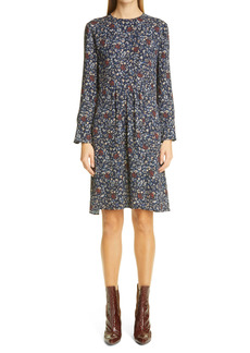 Chloé C Flower Floral Print Long Sleeve Crepe Dress