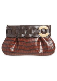 Chloé Darryl Croc Embossed Leather Clutch