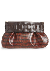 Chloé Darryl Croc Embossed Leather Clutch