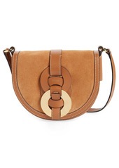 Chloé Darryl Suede & Leather Crossbody Saddle Bag