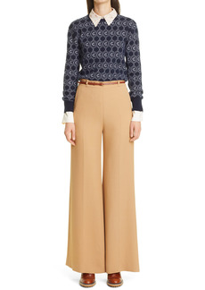Chloé Double Face Flare Crepe Trousers