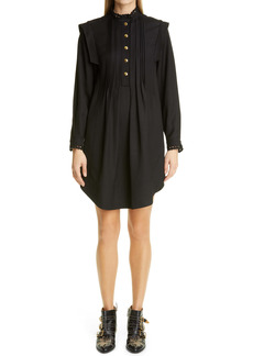 Chloé Eyelet Trim Gabardine Long Sleeve Dress