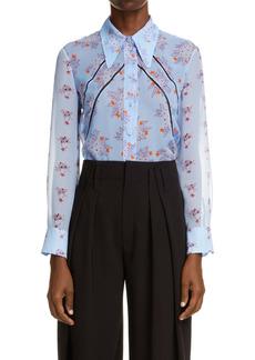 Chloé Floral Open Stitch Inset Button-Up Silk Blouse