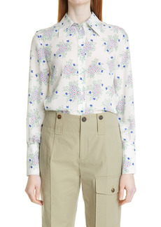 Chloé Floral Print Silk Crepe Shirt