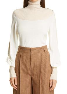 Chloé High Neck Bishop Sleeve Wool Sweater