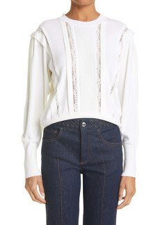 Chloé Lace & Pleat Front Wool Sweater