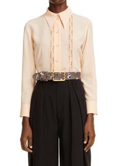 Chloé Lace Inset Button-Up Silk Blouse