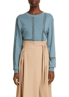 Chloé Lace Inset Silk Blend Sweater