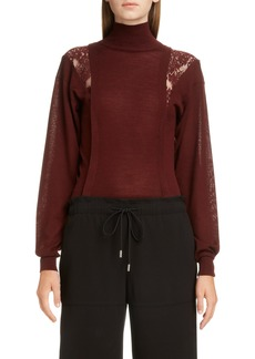 Chloé Lace Inset Wool & Silk Sweater