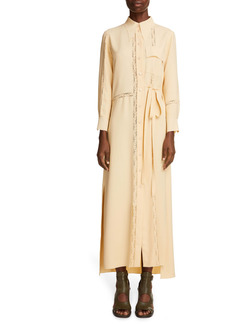 Chloé Lace Long Sleeve Crepe Midi Shirtdress