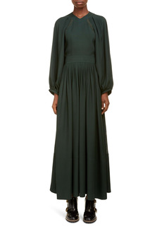 Chloé Lace Trim Open Back Long Sleeve Crepe Dress