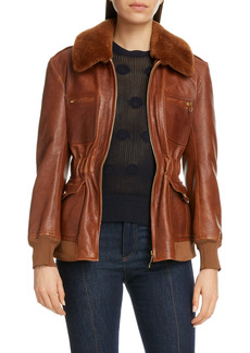 Chloé Lambskin Leather Jacket with Genuine Shearling Trim