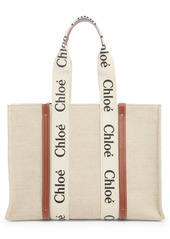 Chloé Large Woody Logo Strap Canvas Tote