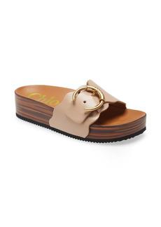 Chloé Lauren Logo Buckle Platform Slide Sandal (Women)