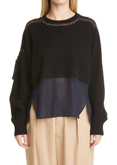 Chloé Layered High/Low Cashmere & Silk Sweater