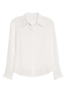 Chloé Logo Scalloped Cuff High/Low Silk Shirt