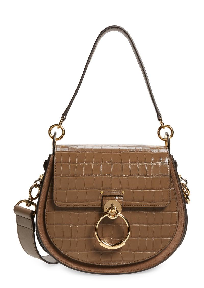 Chloé Medium Tess Croc Embossed Calfskin Leather Shoulder Bag